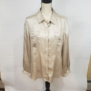 Gold Calvin Klein Button Down Blouse